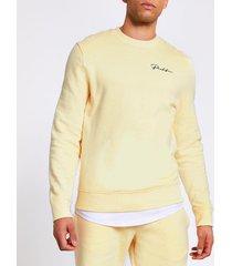 river island mens prolific yellow slim fit sweatshirt