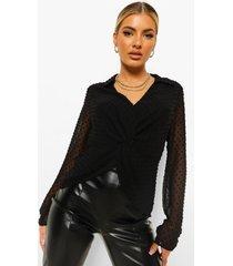 geknoopte dobby mesh blouse met laag decolleté, black