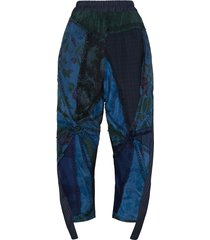 by walid sally floral-embroidered trousers - blue