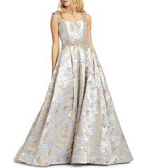 mac duggal women's jacquard ball gown - gilded blue - size 6