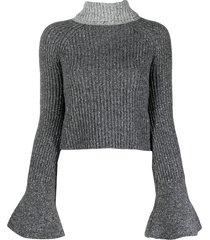 loewe tie-fastening ribbed jumper - grey