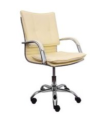 cadeira escritório giratória desenho italiano trevalla cde-29-3 bege