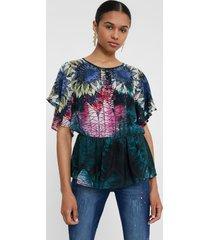 blouse, gathered waist - green - xxl