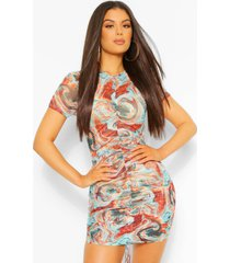 marble print ruched front mesh bodycon dress, turquoise