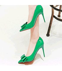 pp439 romantic pointy heels w great bowtie, patent leather,us size 4-8.5, green