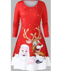 plus size christmas printed fit and flare round collar dress