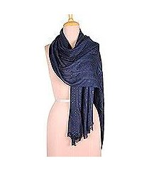 viscose blend shawl, 'indigo shimmer' (india)