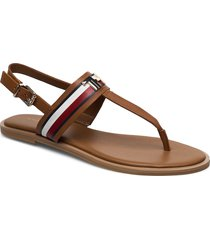 corporate leather flat sandal shoes summer shoes flat sandals brun tommy hilfiger