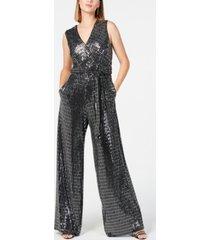 donna ricco embellished surplice jumpsuit
