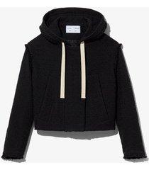 bouclé tweed hooded jacket