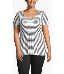 lane bryant women's ruched-waist tee 14/16 kelly stripe