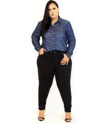 calça de brim feminina plus size da cambos