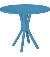 mesa de madeira redonda de madeira felice 410 azul - maxima