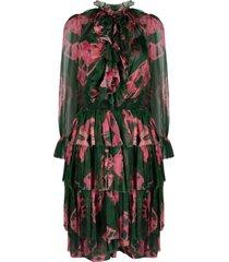 zimmermann poppy tiered tie-dye mid-length dress - green