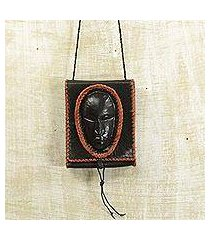leather cell phone shoulder bag, 'watcher' (ghana)