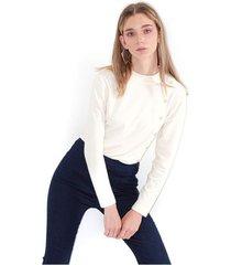 sweater para mujer cuello redondo, manga larga, taches laterales color-blanco-talla-xs