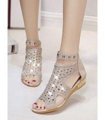 diamante de imitación hueco de moda sandalias