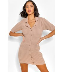 chunky rib collar knitted dress, stone