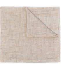 brunello cucinelli frayed-edge linen scarf - neutrals