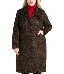 tahari plus size single-button leopard coat, created for macy's