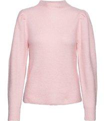 slflipa ls knit t-neck b stickad tröja rosa selected femme