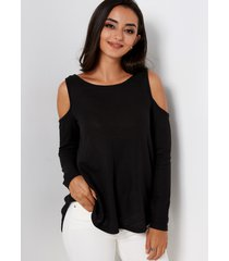 camiseta irregulr de manga larga con hombros descubiertos negra