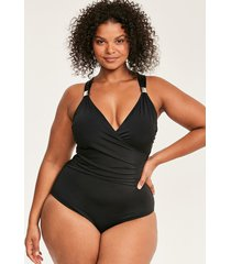 illusion curve draped firm control one-piece swimsuit