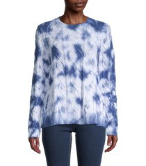 nicole miller women's tie-dyed cotton cable-knit sweater - blue tie dye - size s