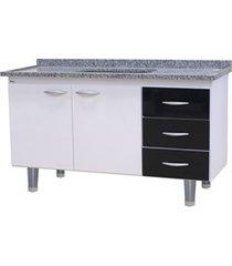 gabinete para cozinha em mdf milano 150cm branco e preto