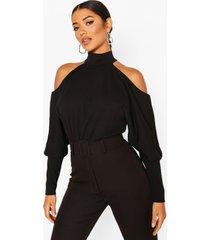 crepe cold shoulder top, black