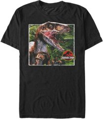 fifth sun jurassic park men's raptor coming out of forest short sleeve t-shirt