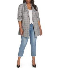 plus size women's standards & practices norm glen plaid blazer, size 1x - grey
