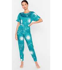 womens night and day moon pajama pants set - emerald