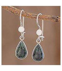 jade dangle earrings, 'dark green tears' (guatemala)