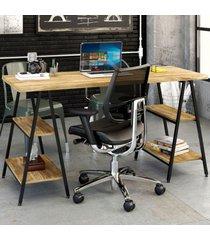 mesa para escritório kuadra 4 prateleiras carvalho - compace