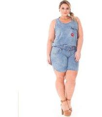 regata confidencial extra plus size jeans com patch feminina
