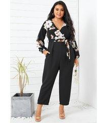yoins plus talla cuello en v estampado floral bolsillos laterales cinturón diseño mangas largas mono