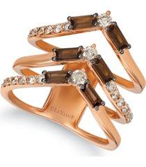 le vian baguette frenzy smoky quartz (9/10 ct. t.w.) & nude diamond (5/8 ct. t.w.) chevron statement ring in 14k rose gold