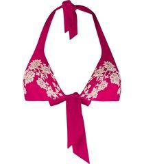 carine gilson lace applique bikini top - pink