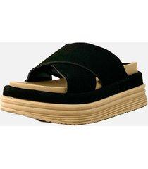 sandalia negra gamuza araquina moma