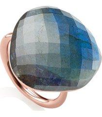 rose gold nura large pebble ring - limited edition labradorite