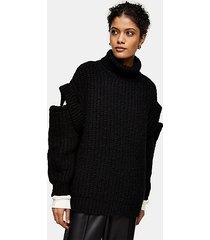 black split shoulder roll neck knitted sweater - black