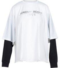 jeremy scott designer t-shirts & tops, white cotton women's t-shirt w/ls sleeve