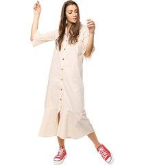 vestido beige prussia lauren