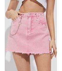 minifalda de mezclilla con diseño de cadena de bolsillos laterales rosa