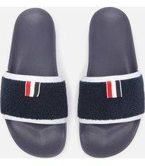 thom browne men's terry cloth pool slide sandals - navy - eu 45/uk 11
