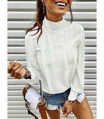 botón de ojo de cerradura diseño alto cuello blusa de manga larga