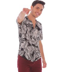 camisa tropical negra - hombre
