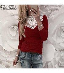 zanzea mujeres camiseta de manga larga de encaje elástico delgado croceht tapas de la camisa ocasional del remiendo de la blusa -rojo