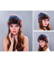 elegant winter spiral crafts textile genuine rex rabbit hat women thicken cap